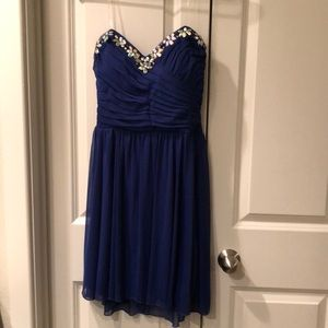 Royal Blue Mini Strapless dress size large